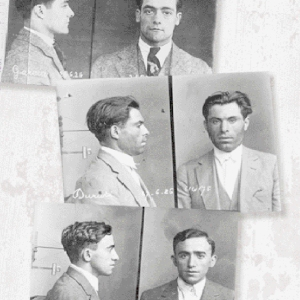 Fotografías de las fichas policiales de Garcia Oliver (arriba), Durruti (centro) y Francisco Ascaso (abajo).