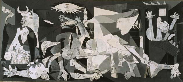 Mural situado en Guernica y Luno que reproduce el famoso cuadro pintado por Pablo Picasso. El texto inferior dice: «El Guernica a Guernica»