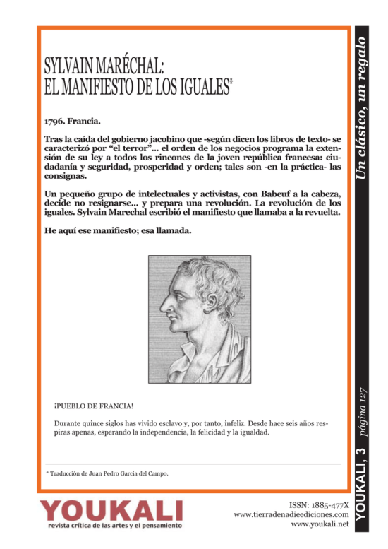 Sylvain Maréchal - Manifiesto de los Iguales,